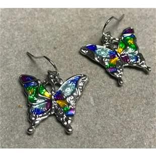 Butterfly Multicolor Enameled Hook Earrings