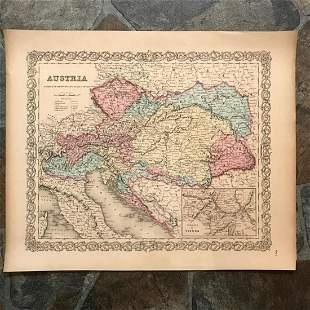 19thc J H Colton Map of Austria