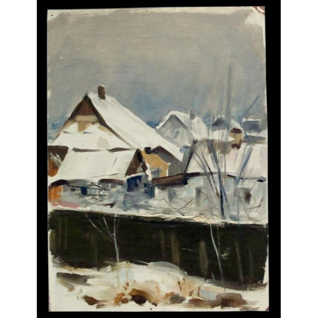 20thc Russian School, Winter Landscape, Signed Oil