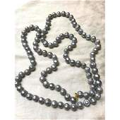 """12-13mm Large Baroque South Sea Gray Pearl 50"""" Necklace"""