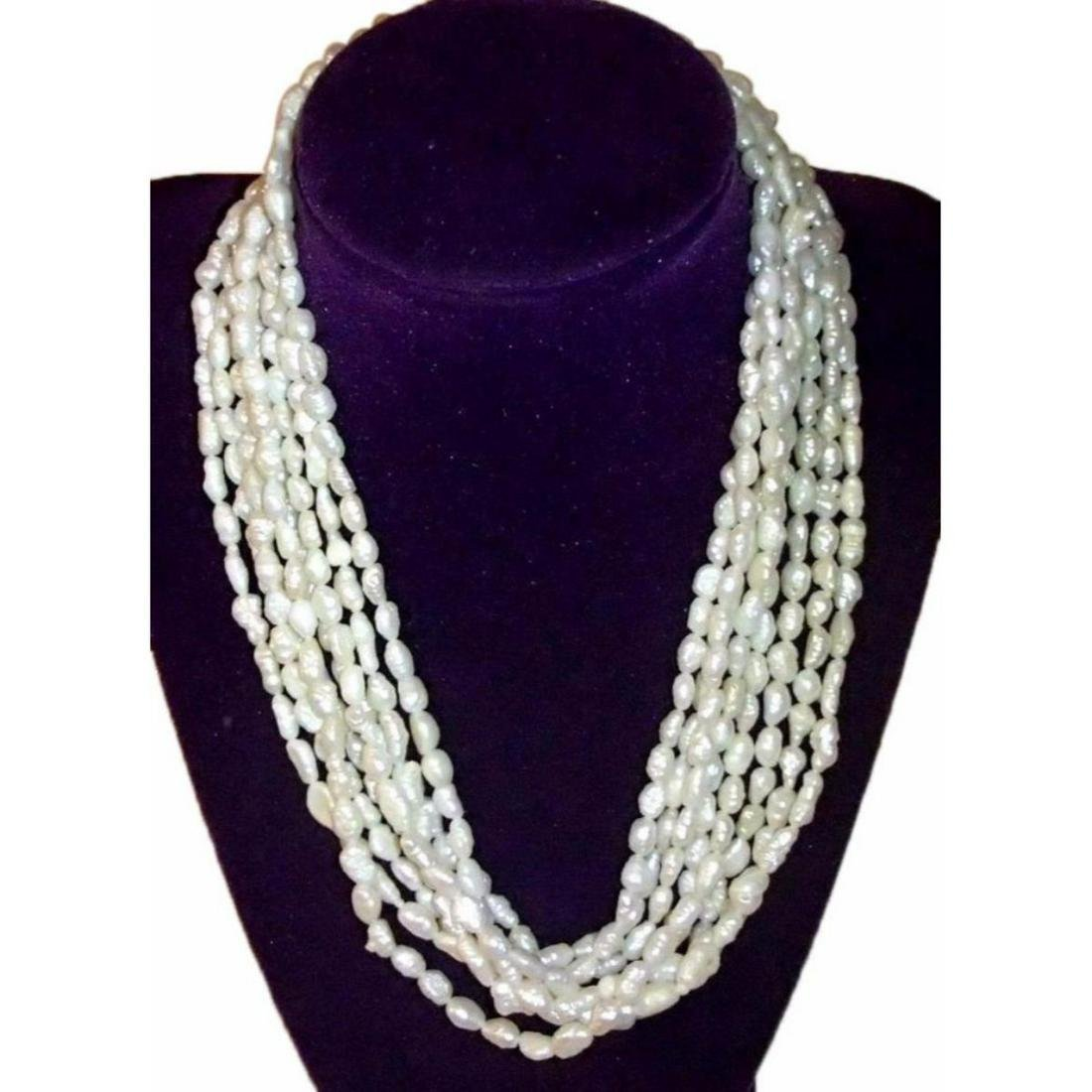 Vintage Multi-strand Natural White Baroque Rice Pearls
