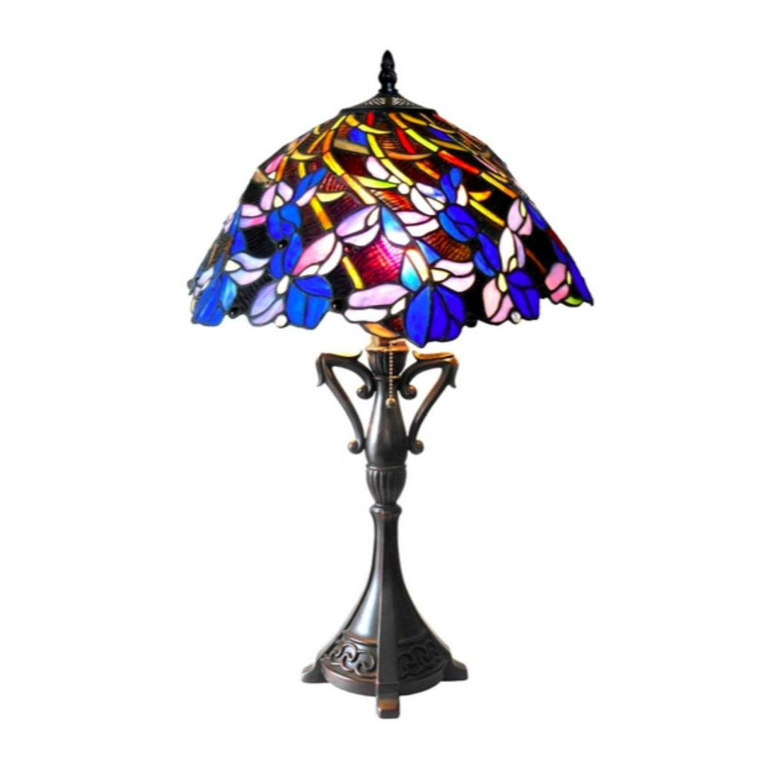Blue Floral Tiffany-style Art Glass Table Lamp