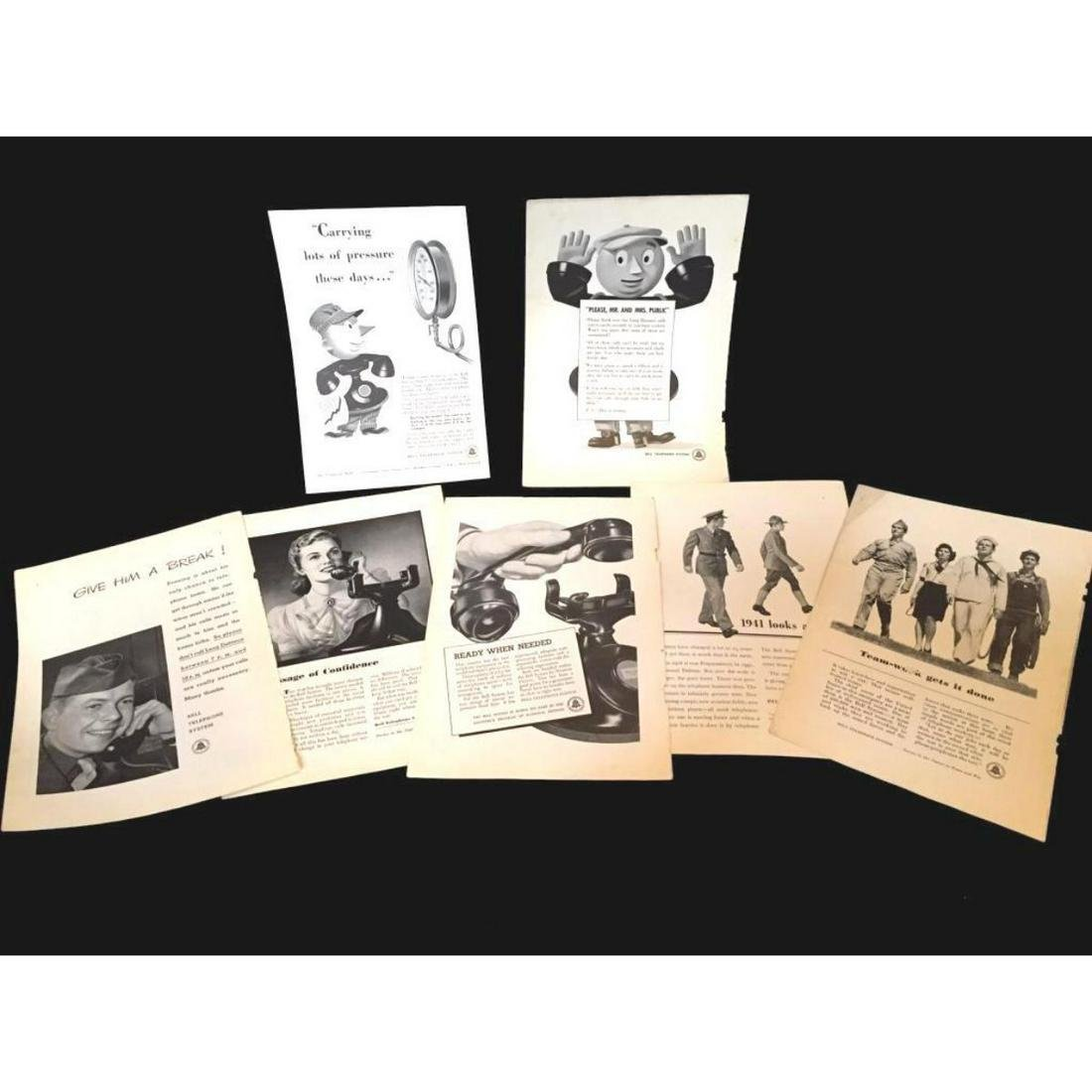 Set of Original 1940's WWII Bell Telephone Ads