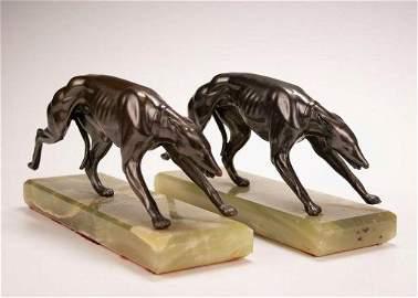 Art Deco Greyhound Dog Bookends