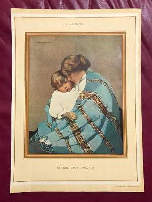 Vintage French 1920s Color Lithograph Norah Neilson