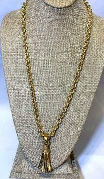 French Designer Givenchy Gold Tassel Necklace