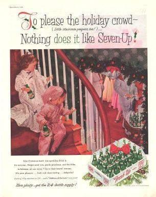 1956 Magazine Ad 7 Up Soft Drink Christmas
