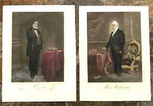 Pair of 19thc Handcolored Engravings President