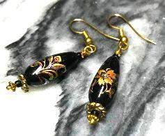Art Nouveau HandPainted Czech Glass Earrings