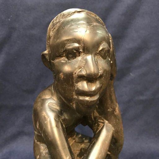 Vintage African Tribal Wood Carving, Native Man