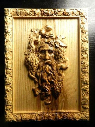 Lithuanian Carved Wooden Wine Cellar Plaque, Dionysus,