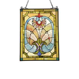 Tiffany-style Blue Green Stained Art Glass Hanging