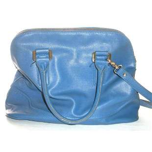 Designer Ivanka Trump Bright Blue Leather Handbag Purse