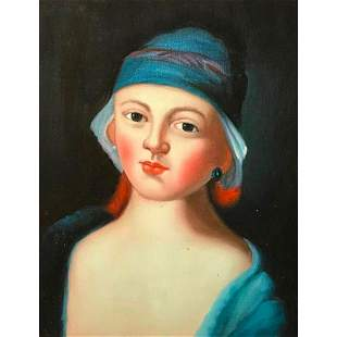 20thc Oil Painting Woman in Blue Hat