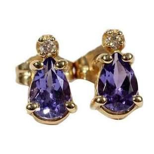 14kt Pear Shape Tanzanite Diamond Earrings