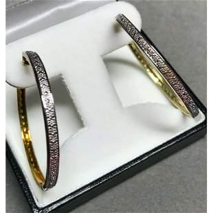 Diamond Yellow Gold Plated Hoop Style Earrings