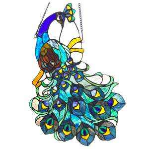 Blue Peacock Tiffany Style Stained Glass Hanging Panel