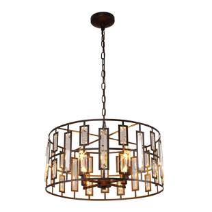 Modern Rubbed Bronze Crystal Inverted Ceiling Pendant