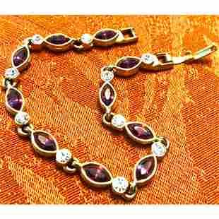 Amethyst Crystal Gold Plated Bracelet