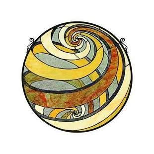 Modern Geometric Stained Glass Hanging Globe Panel