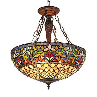 Tiffanystyle Stained Glass Inverted Ceiling Pendant