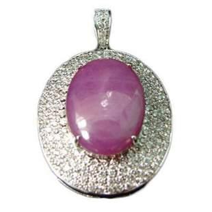 18kt White Gold Star Ruby Diamond Pendant