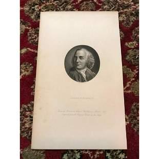19thc Steel Engraving Founding Father Benjamin