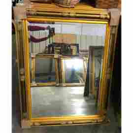 Aesthetic Style Carved Wood Gilt Beveled Mirror