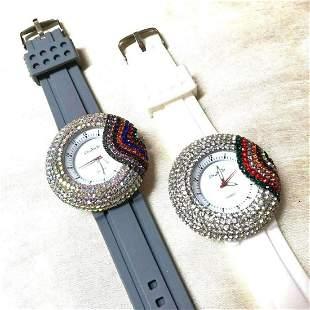 Pair of Rainbow Crystal Quartz Fashion Wristwatches