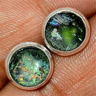 Ancient Roman Glass Shard Sterling Post Earrings