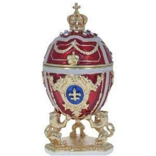 Lions Holding Royal Crown Faberge Inspired Trinket