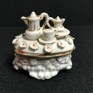 Antique Victorian Porcelain Gilt Tea Set Fairing