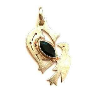 Minimalist Style Sterling Silver Crystal Bird Pendant