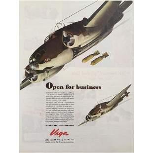 1943 Vega Aircraft Lockheed WWII Advertisement
