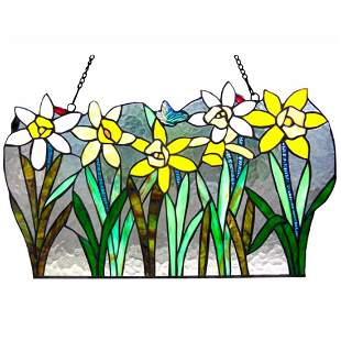 Stained Glass Flower Hanging Panel
