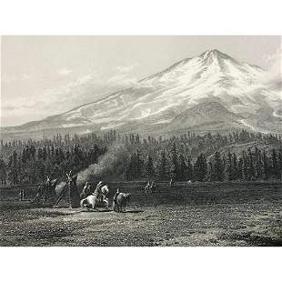 19thc Steel Engraving Mount Shasta Washington