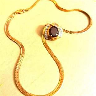5ct Oval Garnet Diamond Gold Plated Pendant Necklace