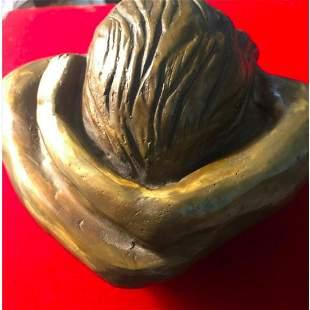 Modern Abstract Bronze Sculpture Self Embrace