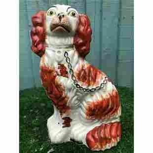 19thc English Staffordshire Russet Red & White Spaniel