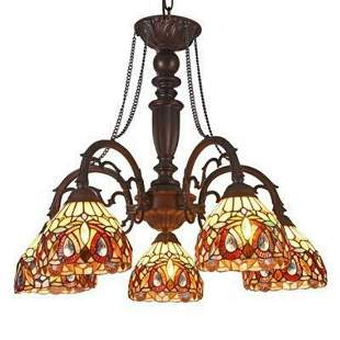 Victorian Tiffany-style Stained Glass Chandelier