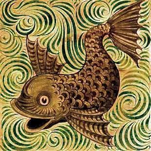 After William De Morgan, Ceramic Fish Tile Mural