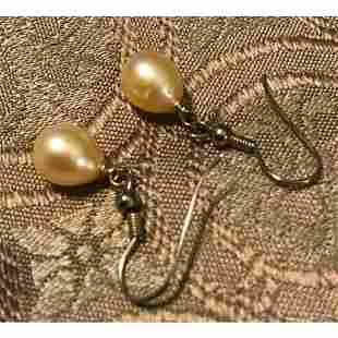 Cultured Pearl & Sterling Silver Drop Earrings