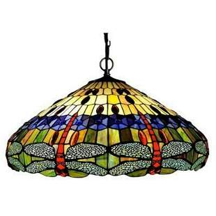 Dragonfly Stained Art Glass 3-Light Pendant Light