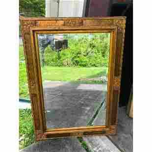 Aesthetic Style Floral Gilt-Framed Beveled Mirror