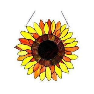 Tiffany-style Sunflower Art Glass Window Panel