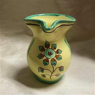 Vintage Cortona Italy Sunflower Pottery Pitcher