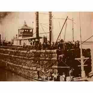 19thc Cotton Barge, Baton Rouge Louisiana, Sepia Tone