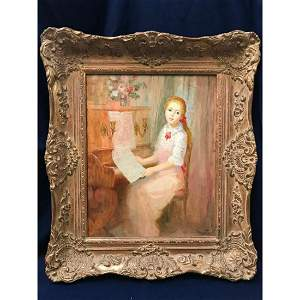20thc Oil Painting, Girl Playing The Piano