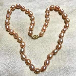 "8-9mm Natural Baroque Pink Pearls 14kt Gold 18"""