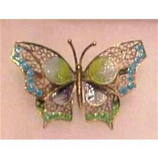 Vintage Silver & Enamel Guilloche Butterfly Brooch Pin